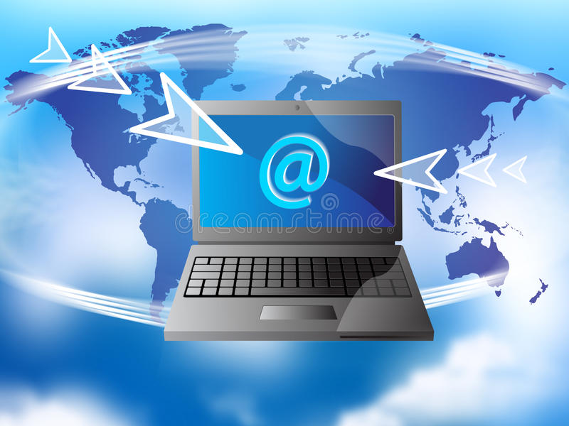 Globale wereld e-mail royalty-vrije illustratie