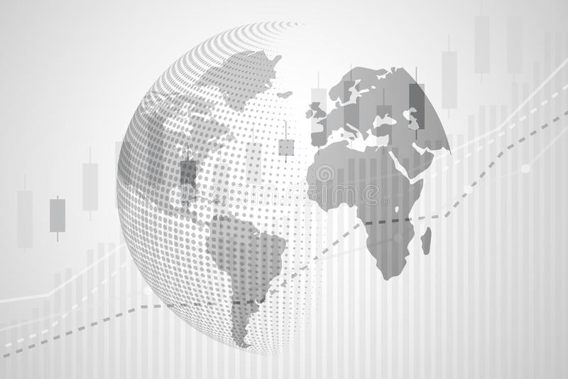 Globale wereldkaart van Digitale munt met de grafiekcha van de Kaarsstok royalty-vrije illustratie