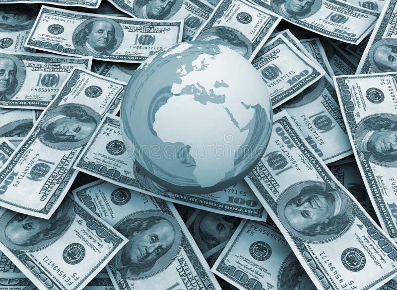 Globale Wirtschaftlichkeit - Weltkugel auf Dollarhintergrund vektor abbildung