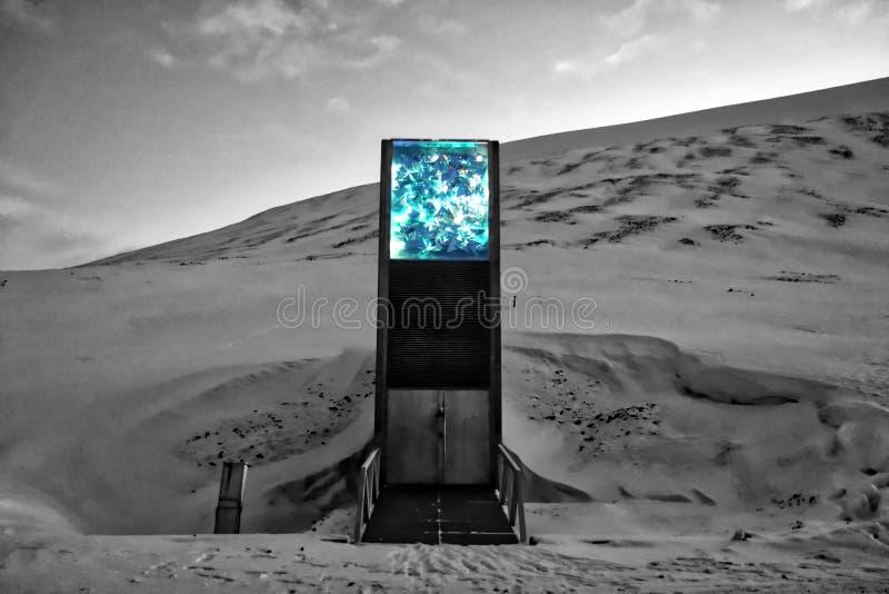 Globale zaadkluis - Svalbard, Noorwegen royalty-vrije stock afbeelding