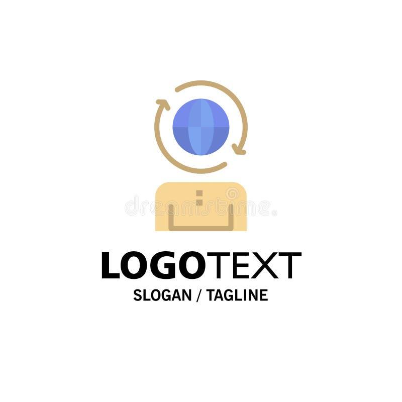 Globale zaken, Beheer, Moderne Zaken Logo Template vlakke kleur vector illustratie