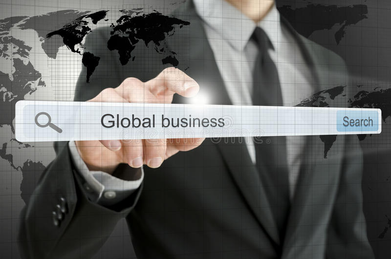 Globale zaken die in onderzoeksbar worden geschreven stock afbeelding