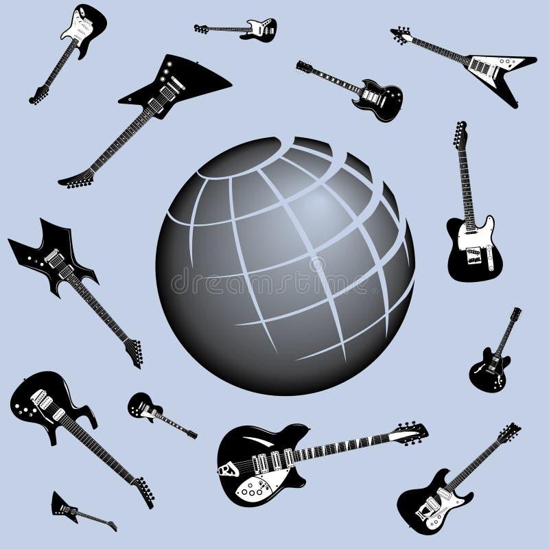 Globaler Gitarren-Hintergrund vektor abbildung