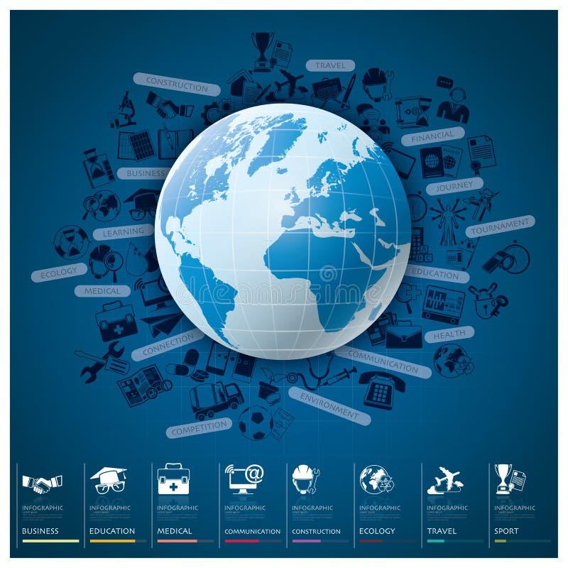 Globaler Index Infographic mit Ikonen-gesetztem Diagramm-Design stock abbildung