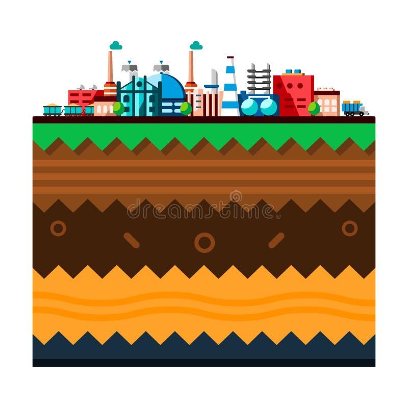 Globaler industrieller Fabriktechnologieprozeß mit Ökologiekonzept Struktur der Erde Flache Illustration von lizenzfreie abbildung
