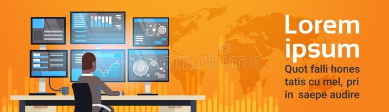 Globaler Onlinehandel-Konzept-Mann, der mit Börse-Überwachungs-Verkäufen über Weltkarte-horizontaler Fahne arbeitet lizenzfreie abbildung