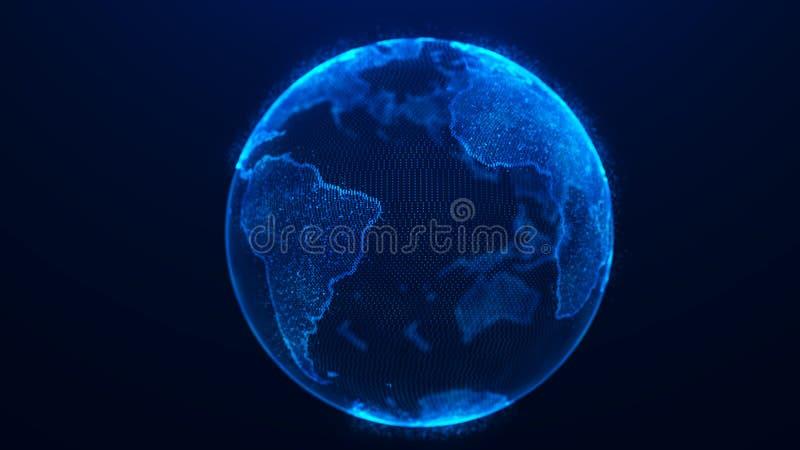 Globaler Planetenhintergrund Erde Planet des globalen Netzwerks Wiedergabe 3d Weltkarte-Punkt stock abbildung