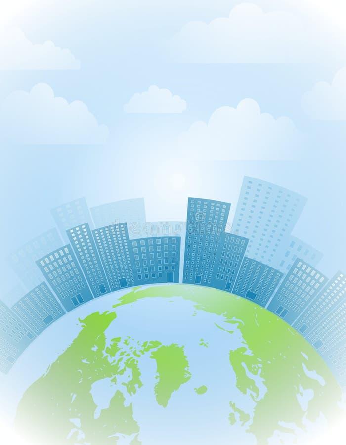 Globaler Stadt-Erde-Hintergrund lizenzfreie abbildung