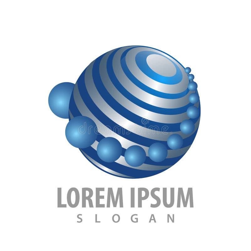 Globaler Technologieplanet bringt Konzeptentwurf in Umlauf Schablonen-Elementvektor des Symbols grafischer lizenzfreie abbildung