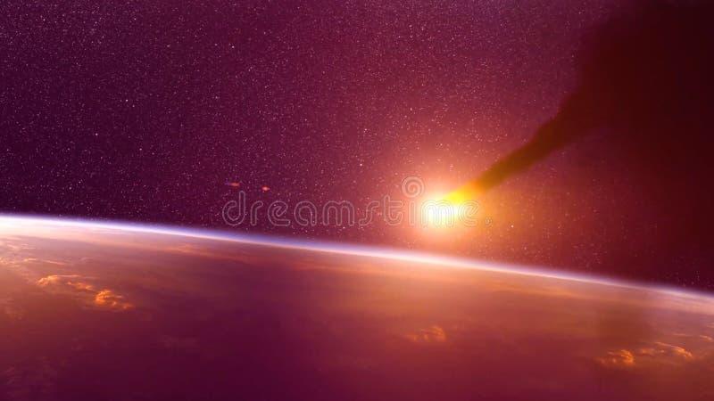 Globaler Unfall - Zusammenstoß eines Asteroiden mit der Erde Meteorit, der oben als er Fall in die Erde-` s Atmosphäre erhitzt lizenzfreies stockfoto