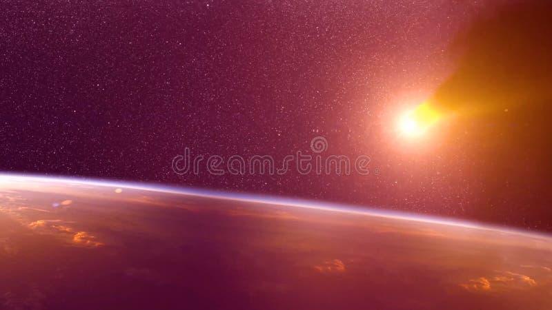 Globaler Unfall - Zusammenstoß eines Asteroiden mit der Erde Meteorit, der oben als er Fall in die Erde-` s Atmosphäre erhitzt stockfoto