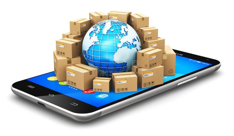 Globaler Versand und weltweites Logistikkonzept stock abbildung