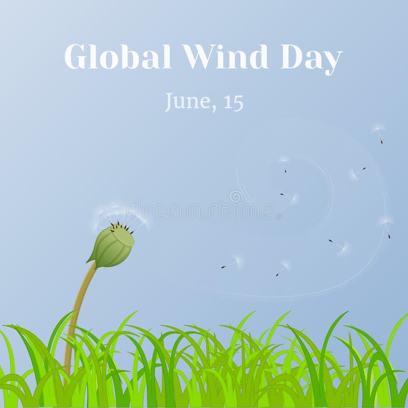 Globaler Wind-Tageshintergrund mit Gras und Löwenzahn stoppt in der Karikaturart ab Vektorillustration für Sie Design, Karte lizenzfreie abbildung