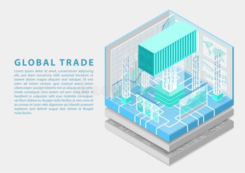 Globales digitales Geschäftskonzept mit verbundenem Versandverpackungs- und Analyticsarmaturenbrett als isometrischer Vektorillus lizenzfreie abbildung