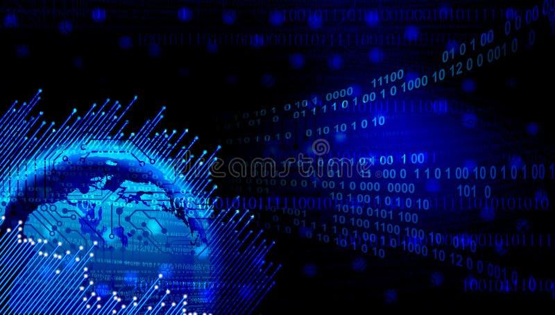 Globales Digitaltechnikkonzept Digital-blaue Datenbahnen Weltnetztechnik Technologiekommunikation stock abbildung