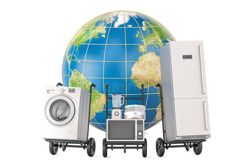 Globales Einkaufen und Lieferung von Haushaltsküchengeräten, 3D lizenzfreie abbildung