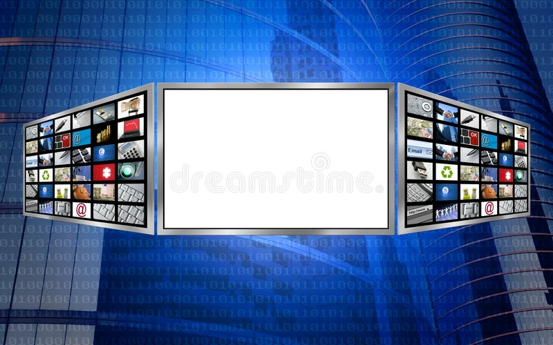 Globales Exemplar-Platz-Technologiekonzept des Bildschirms 3d vektor abbildung