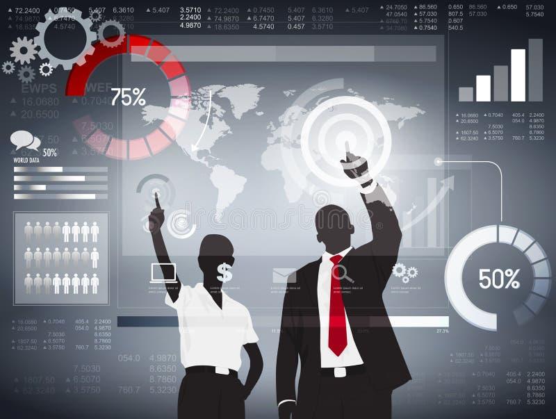 Globales Geschäft, das Vektor analysiert lizenzfreie abbildung