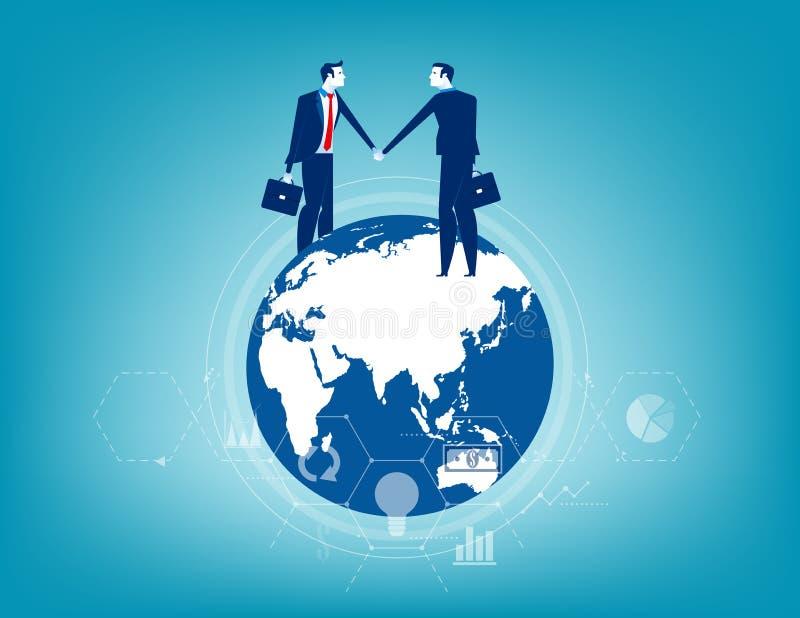 Globales Geschäft Geschäftsbeziehung weltweit Konzeptgeschäfts-Vektorillustration lizenzfreie abbildung