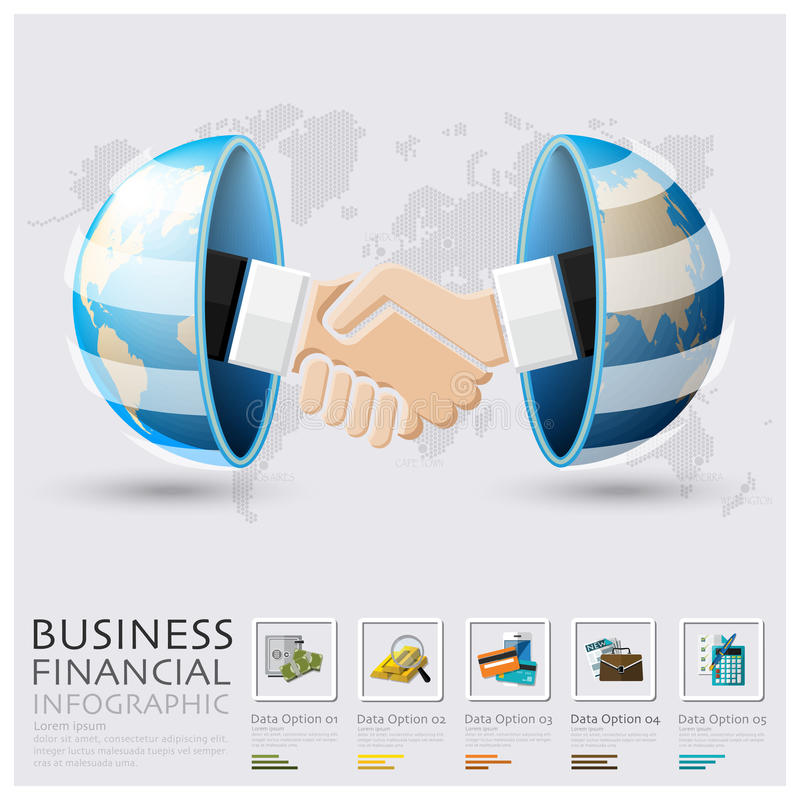 Globales Geschäft und Finanzhändedruck Infographic lizenzfreie abbildung