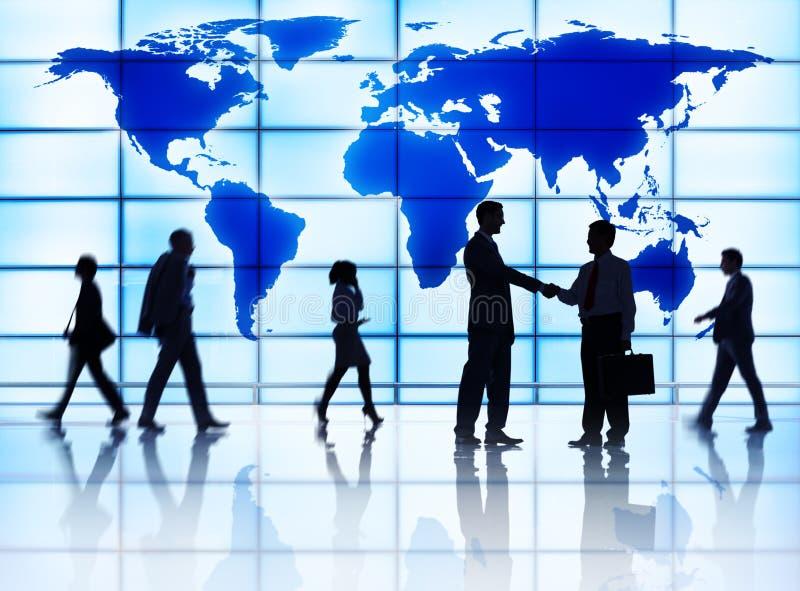 Globales Geschäfts-Gruß-Sitzungs-Konferenz-Seminar-Konzept lizenzfreies stockbild