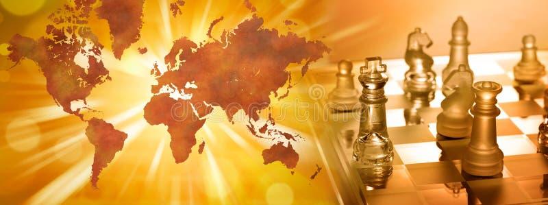 Globales Geschäftsstrategie-Schach vektor abbildung