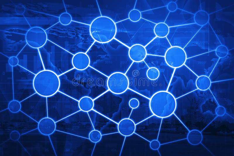Globales Geschäftsverbindungs-Netzkonzept auf Weltkarte und Stadt lizenzfreies stockbild