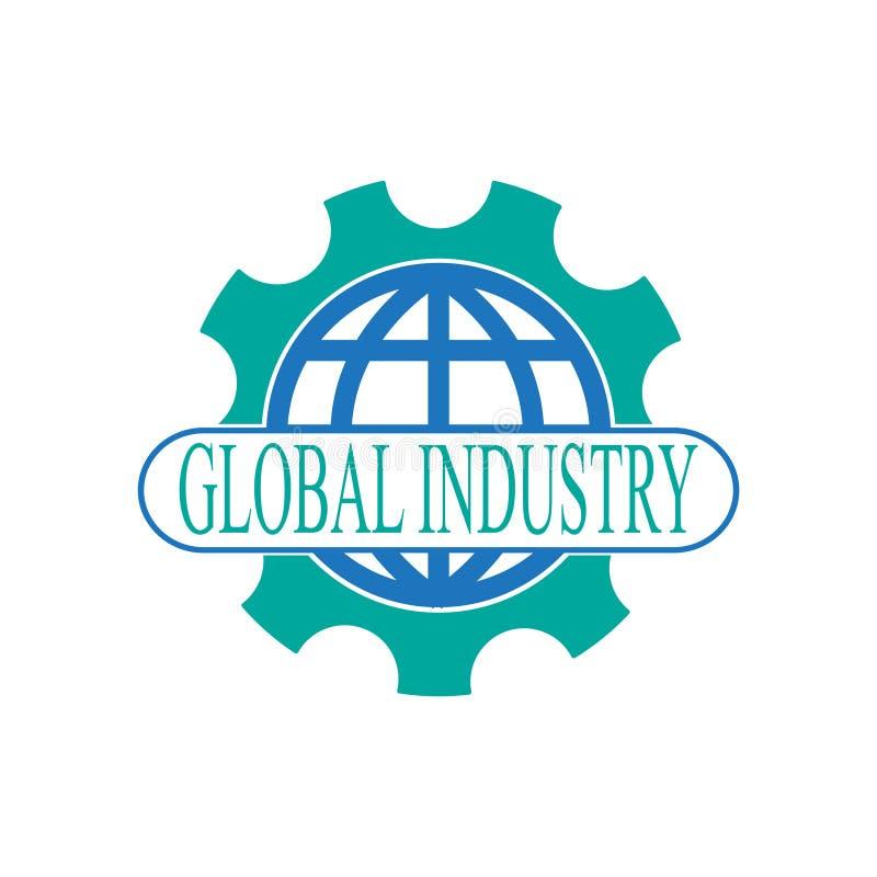 Globales Industrielogo mit Kugel und Gang lizenzfreie abbildung