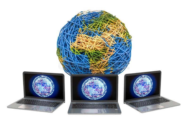 Globales Internetanschlusskonzept Erdkugel vom Kabel mit Laptops Wiedergabe 3d vektor abbildung