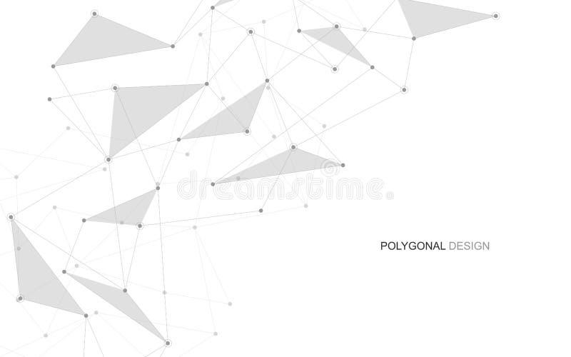 Globales kreatives Soziales Netz des Vektors Abstrakter polygonaler Hintergrund mit Linien und Punkten lizenzfreie abbildung