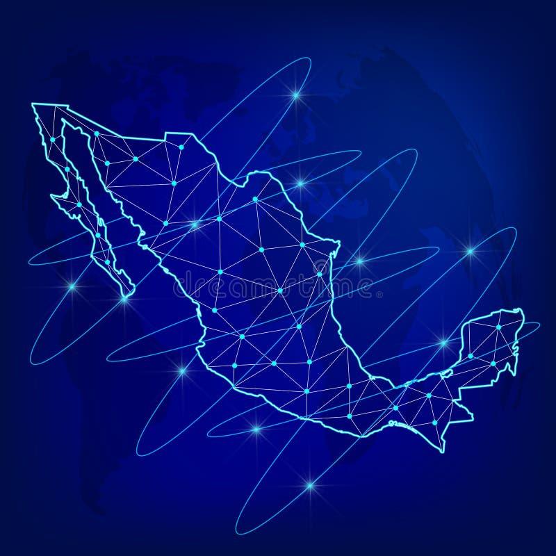 Globales Logistiknetzkonzept Kommunikationsnetzkarte des Mexikos auf dem Welthintergrund Karte von Mexiko mit Knoten herein lizenzfreie abbildung