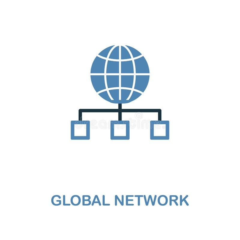 Globales Netzwerk-Creative-Icon in zwei Farben Premium-Stilgestaltung für die Sammlung von Web-Entwicklungs-Icons Globales Netzwe lizenzfreie abbildung