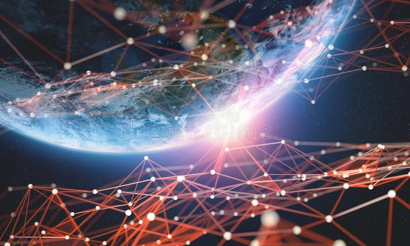 Globales Netzwerk Große Illustration der Datenplaneten-Erde 3D Blockchain-Technologie vektor abbildung
