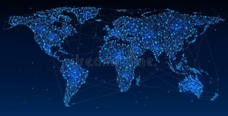 Globales Netzwerk und Kommunikationen lizenzfreie abbildung