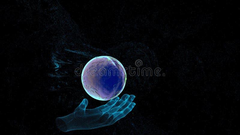 Globales Verbindungskonzept mit digitalem Planeten in den Händen lizenzfreie stockfotos