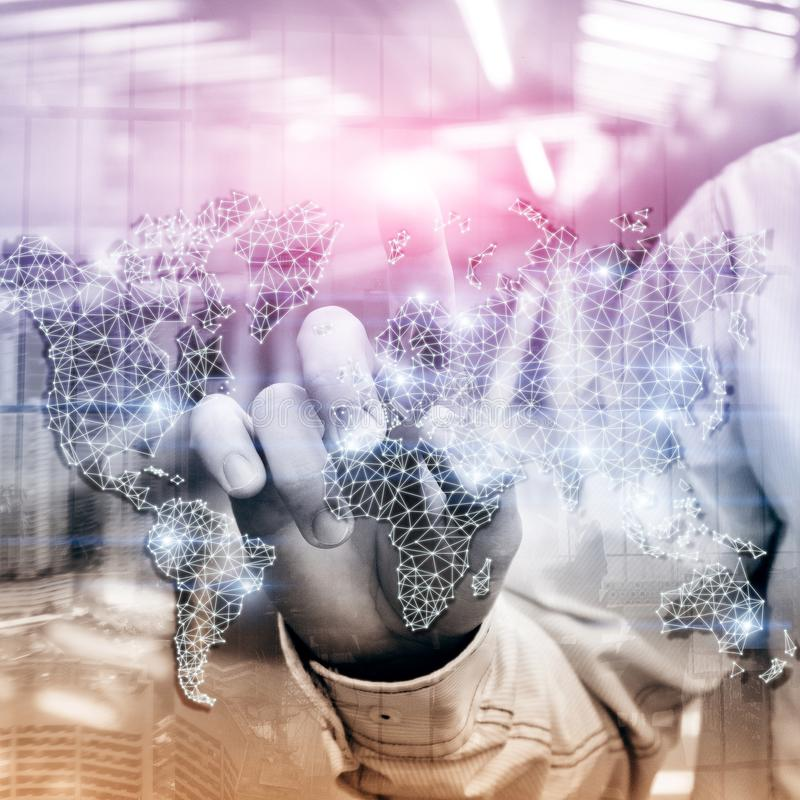 Globales Weltkarte-Doppelbelichtungs-Netz Telekommunikation, internationales Geschäft Internet und Technologiekonzept Ñ- stockfoto