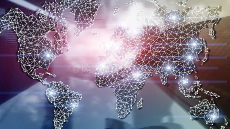 Globales Weltkarte-Doppelbelichtungs-Netz Telekommunikation, internationales Geschäft Internet und Technologiekonzept lizenzfreie stockfotos