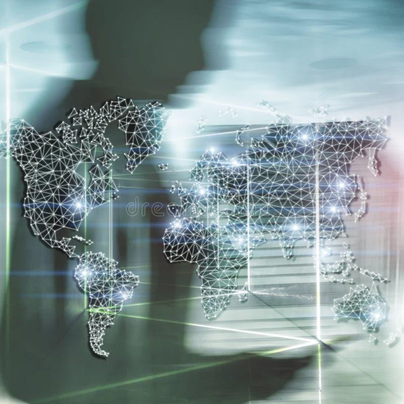 Globales Weltkarte-Doppelbelichtungs-Netz Telekommunikation, internationales Geschäft Internet und Technologiekonzept lizenzfreies stockfoto