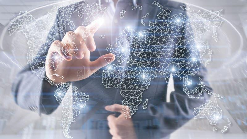 Globales Weltkarte-Doppelbelichtungs-Netz Telekommunikation, internationales Geschäft Internet und Technologiekonzept lizenzfreie stockbilder