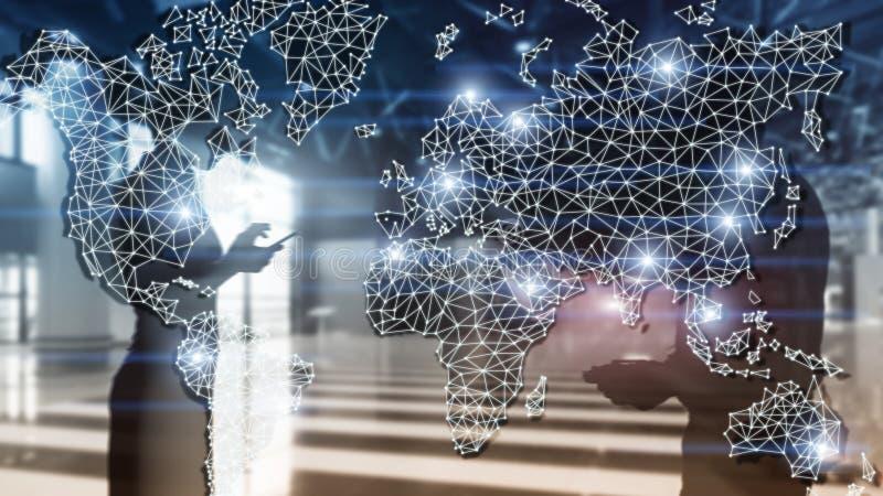 Globales Weltkarte-Doppelbelichtungs-Netz Telekommunikation, internationales Gesch?ft Internet und Technologiekonzept stockfoto