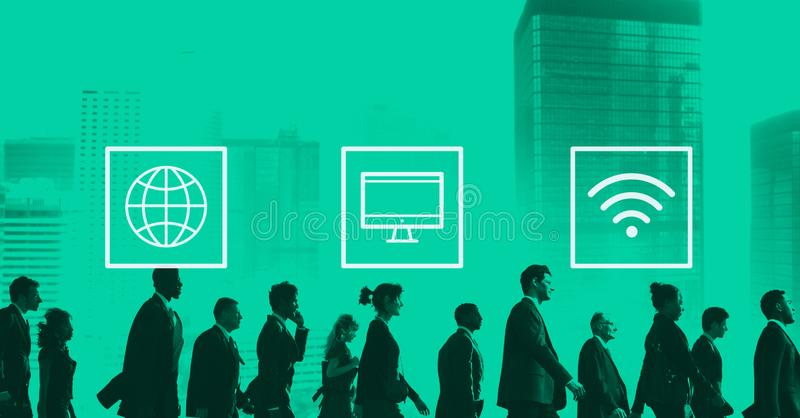 Globales weltweites modernes Verbindungs-Konzept Digital stockfotografie