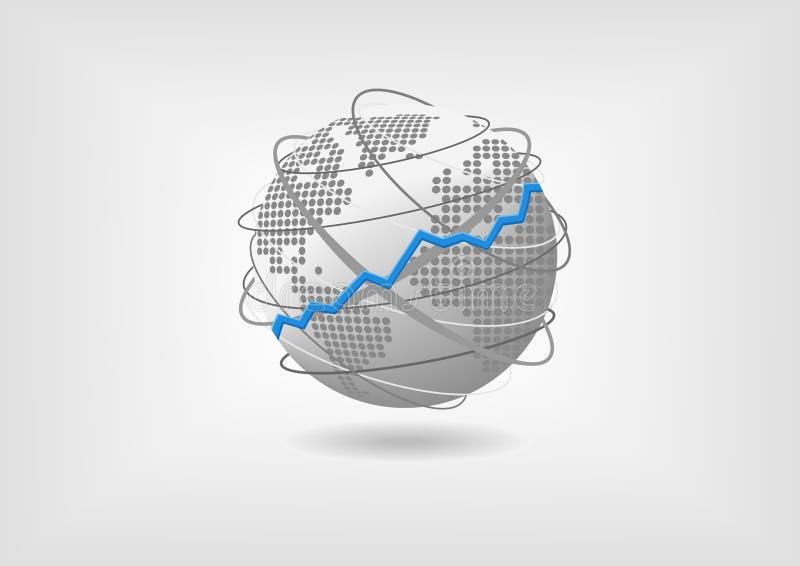 Globales Wirtschaftswachstumskonzept als Illustration Von steigender Tendenz Erweiterungsweltwirtschaft dargestellt durch Kugel stock abbildung