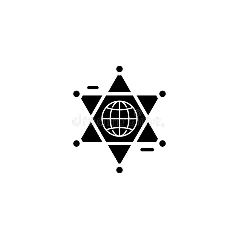 Globales Zusammenarbeitsschwarz-Ikonenkonzept Flaches Vektorsymbol der globalen Zusammenarbeit, Zeichen, Illustration vektor abbildung