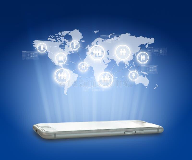 Globalisering of de Sociale achtergrond van het netwerkconcept met nieuw gen royalty-vrije stock foto