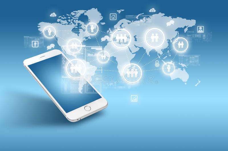Globalisering of Sociaal netwerkconcept met nieuwe generatie van mobiele telefoon stock foto