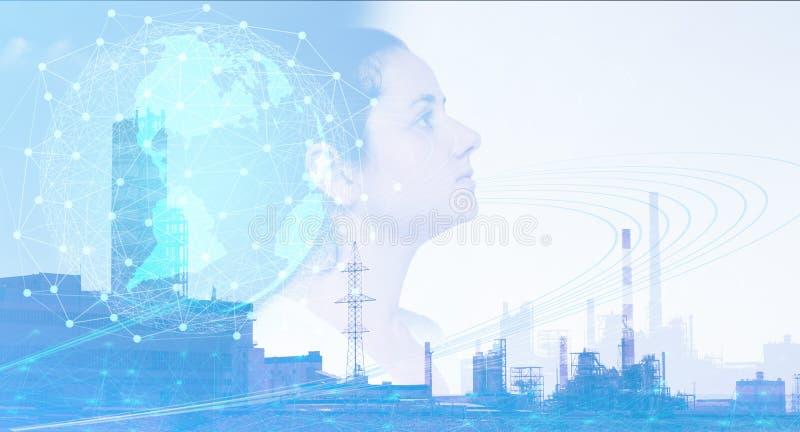 Globalisering van zaken van de wereld, die bestaande problemen oplossen gebruikend Internet van dingen Begrip van de invoering va stock afbeeldingen