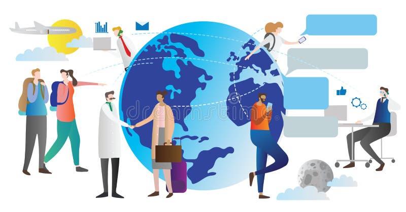 Globaliseringvektorillustration Schemalägga hur världsanslutningsgemenskap arbetar Folk som lite varstans talar och pratar jordkl vektor illustrationer