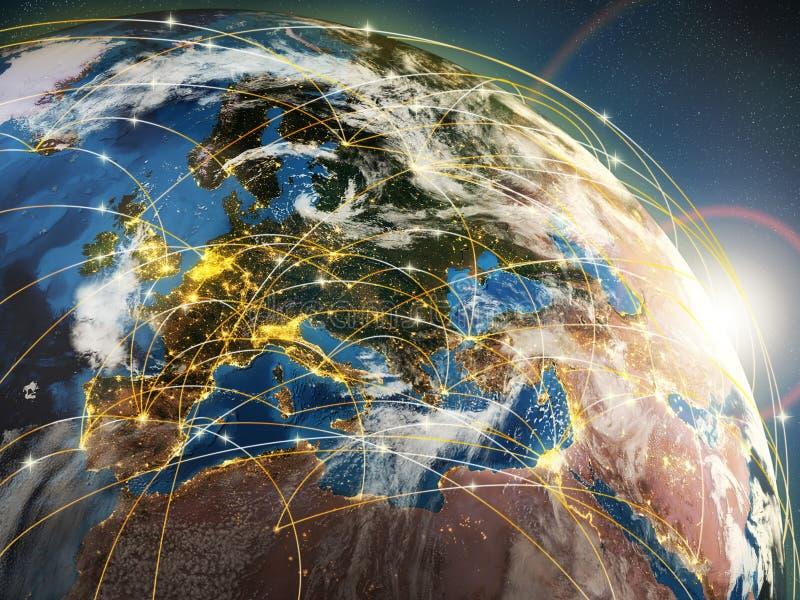 Globalisierungs- oder Kommunikationskonzept Erde und leuchtende Strahlen lizenzfreie abbildung
