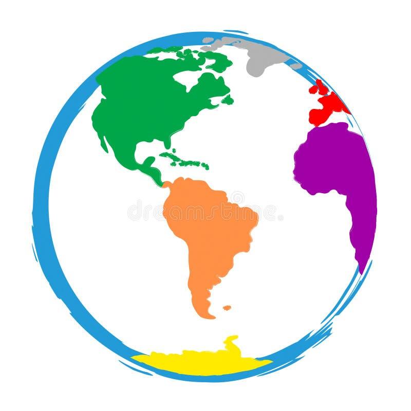 A globalização dos meios do mundo do globo Globalise e colore ilustração stock