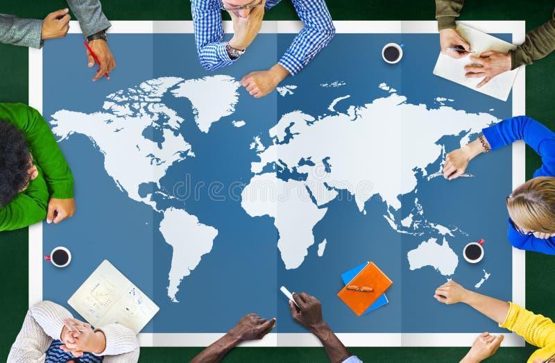 Globalización Co internacional de la cartografía del negocio global del mundo libre illustration